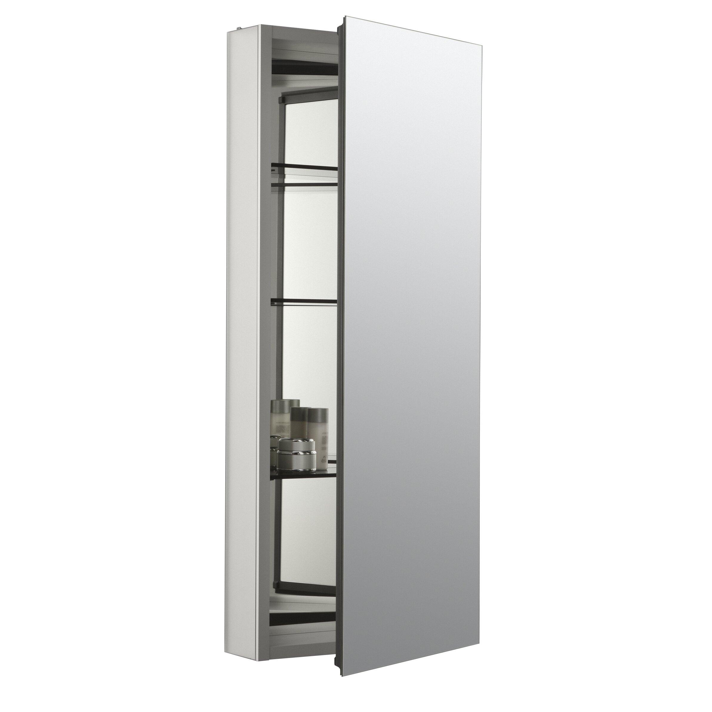 aluminum single door medicine cabinet with 107 degree hinge by kohler