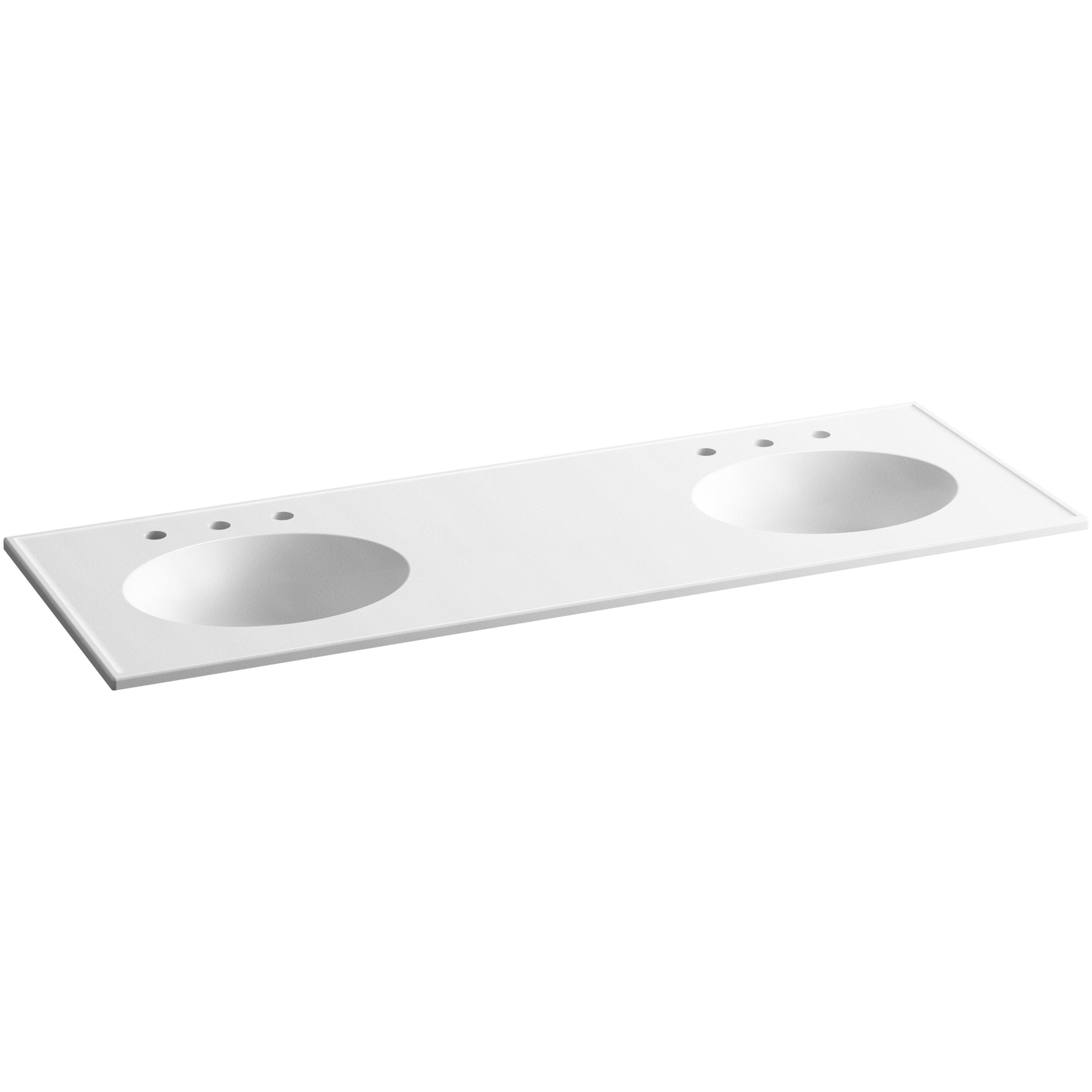"Kohler Double Bathroom Sink: Ceramic/Impressions 61"" Oval Double-Bowl Vanity-Top"