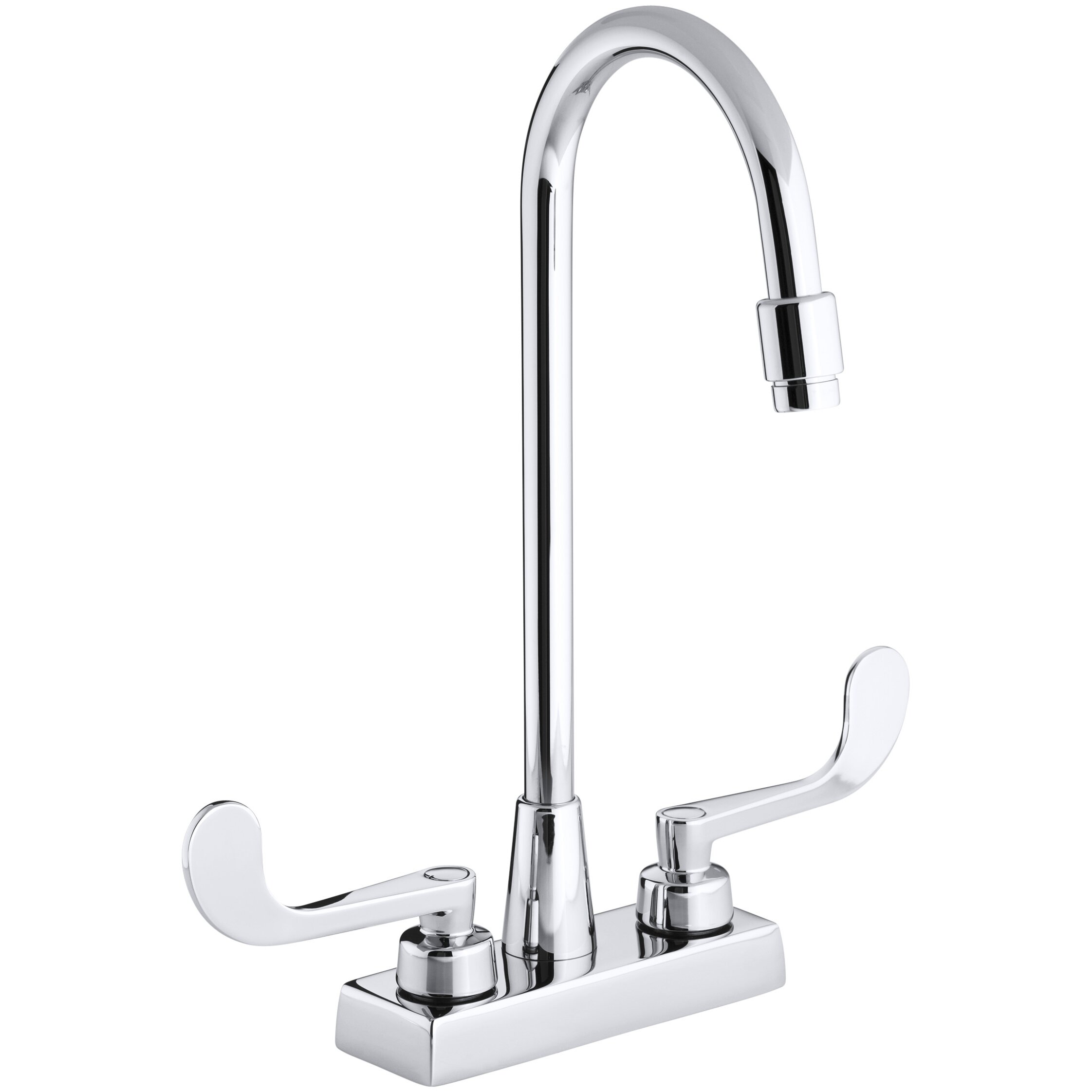 Triton Centerset Commercial Bathroom Sink Faucet With Gooseneck Spout And Wristblade Lever