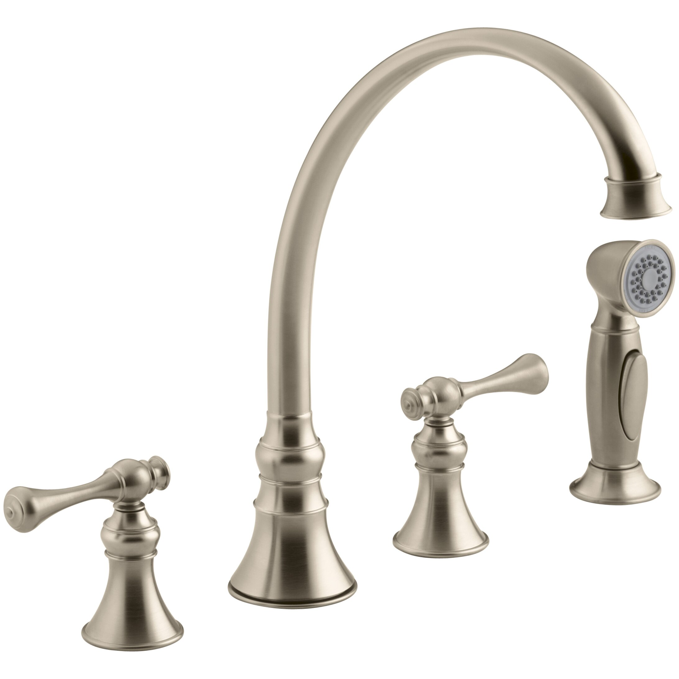 four hole kitchen faucet kohler revival 4 hole kitchen sink faucet with 9 3 16 quot spout matching finish sidespray and 1309
