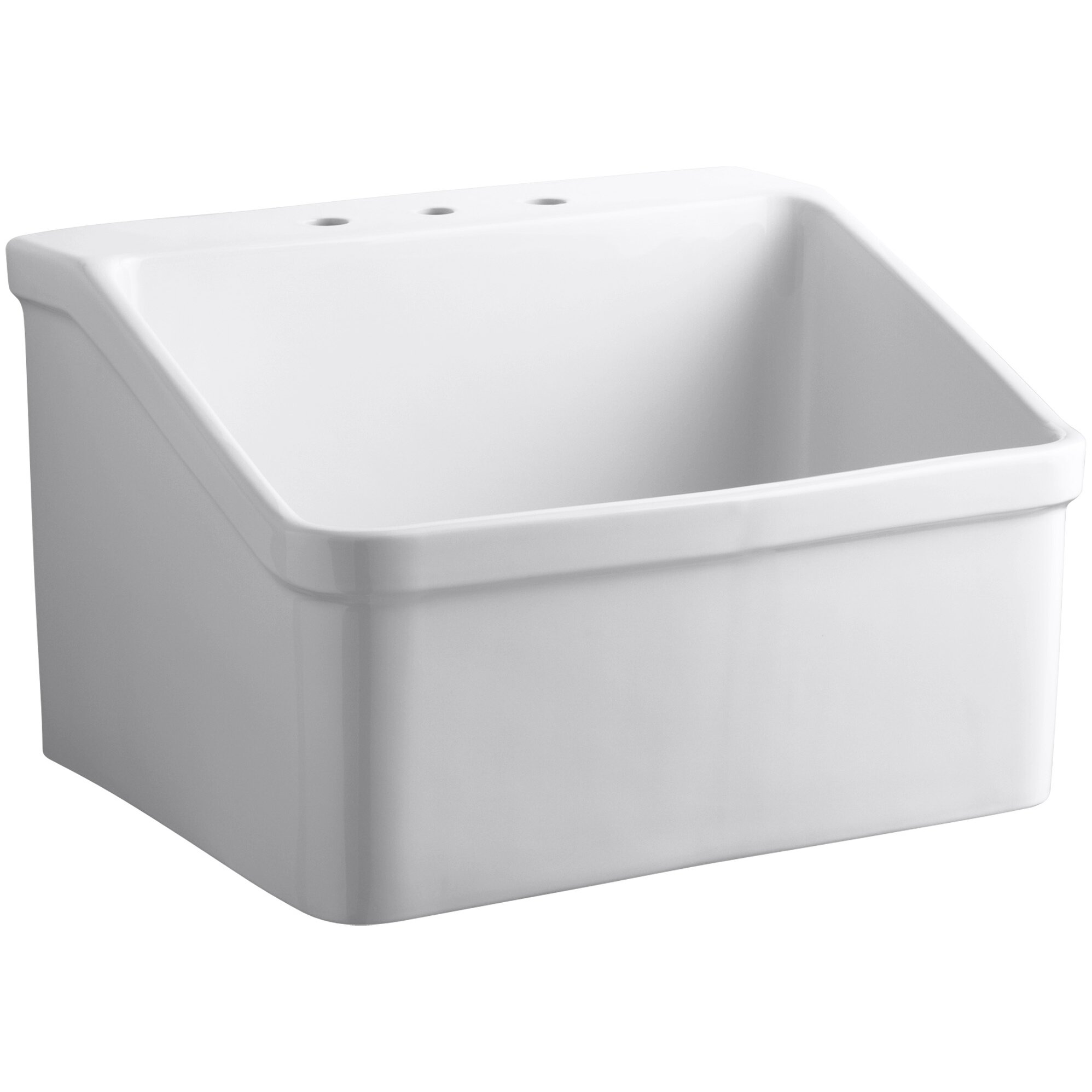Utility Sink With Cover : ... Mounted Utility Sink with Widespread Faucet Holes & Reviews Wayfair