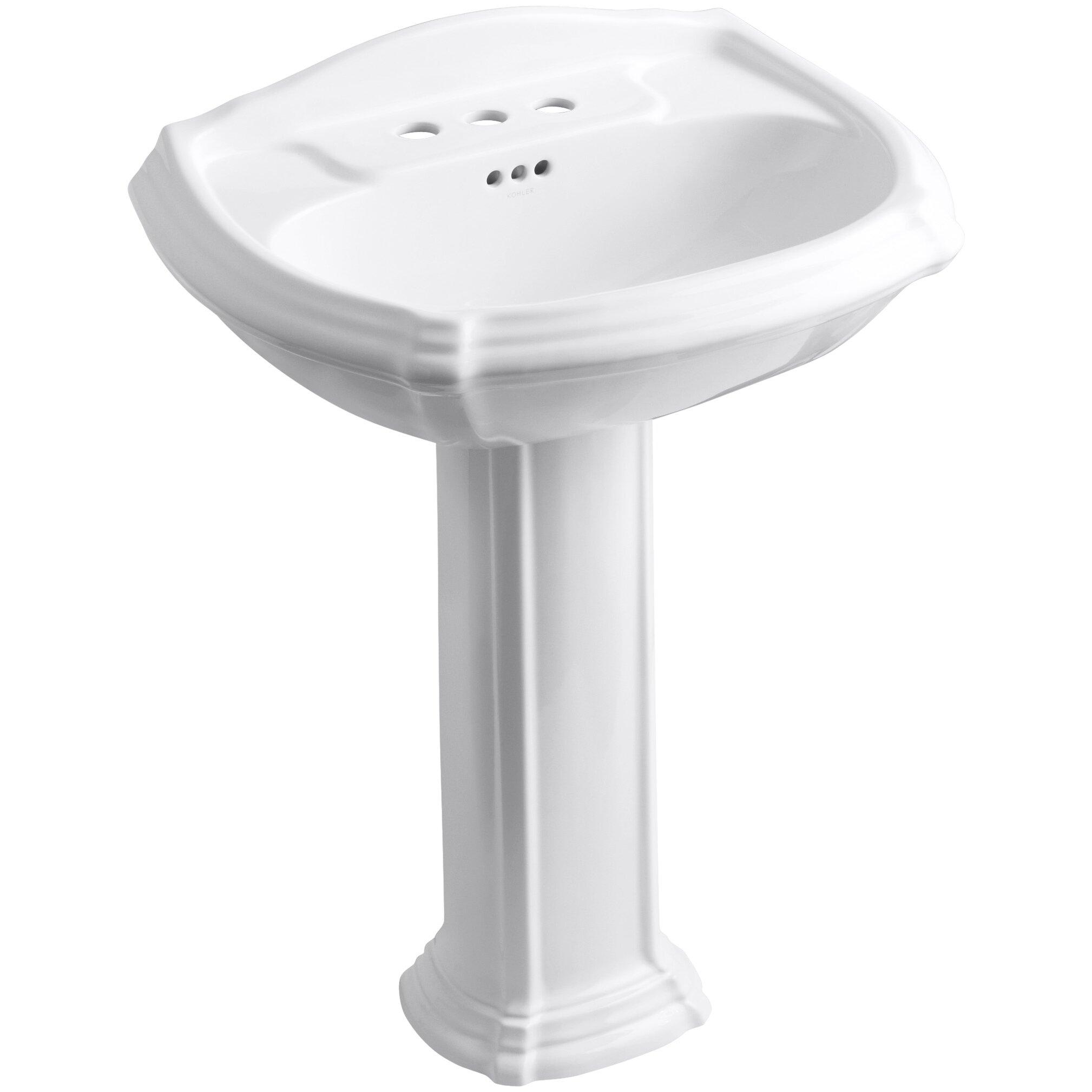 Portrait Pedestal Bathroom Sink With 4 Quot Centerset Faucet