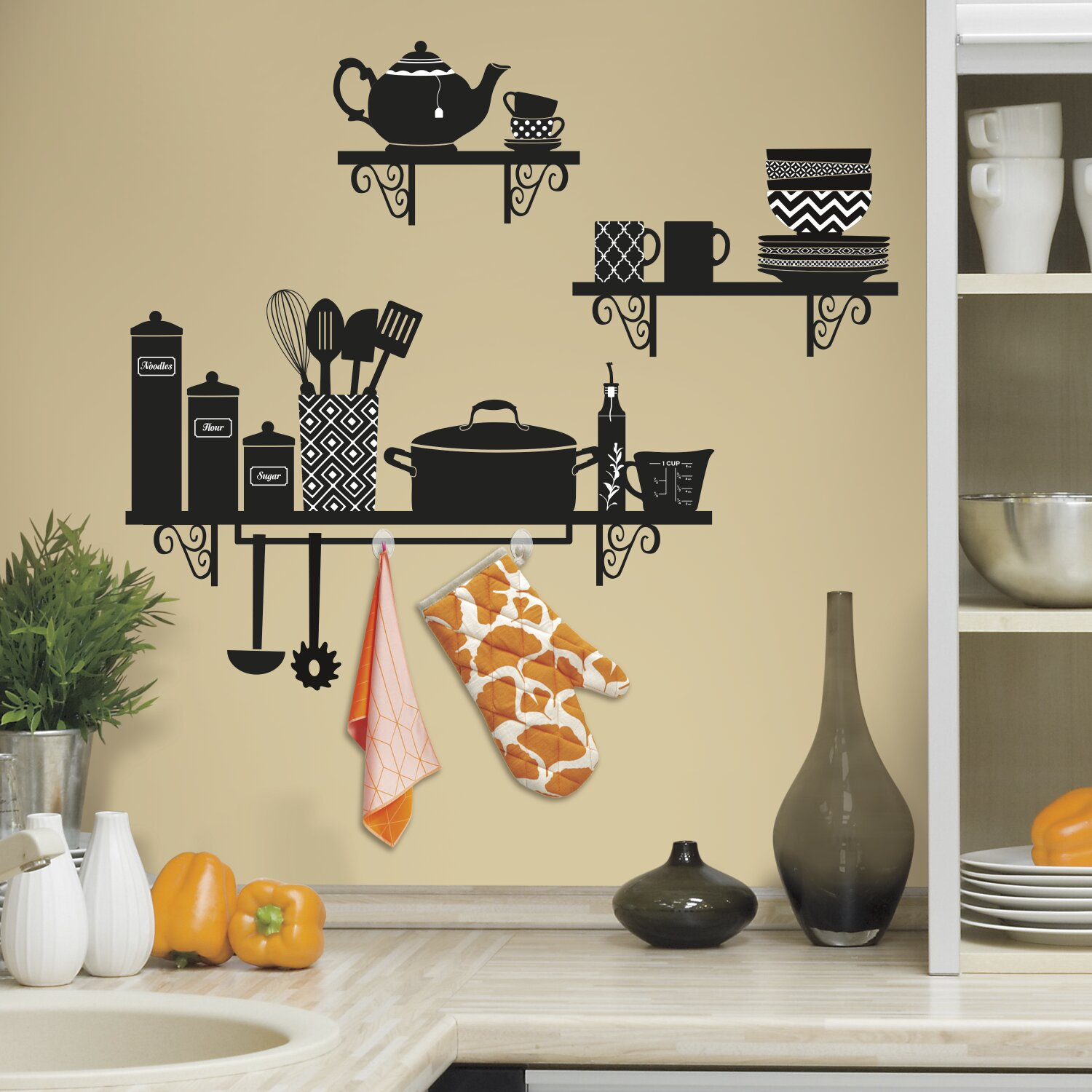 Room mates deco build a kitchen shelf wall decal reviews - Kitchen wall stickers decor ...