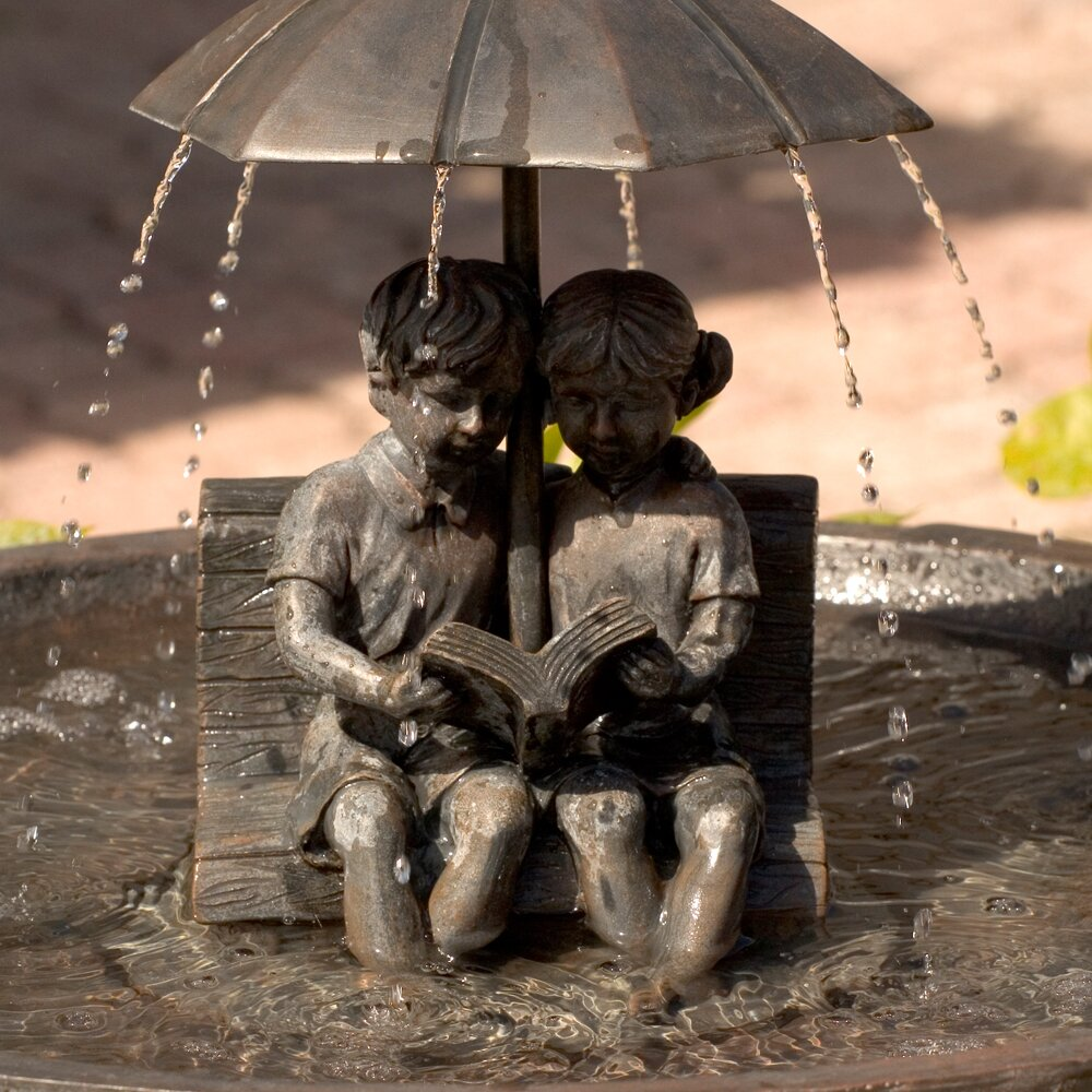 Smart Solar Umbrella Series Boy And Girl Reading On A