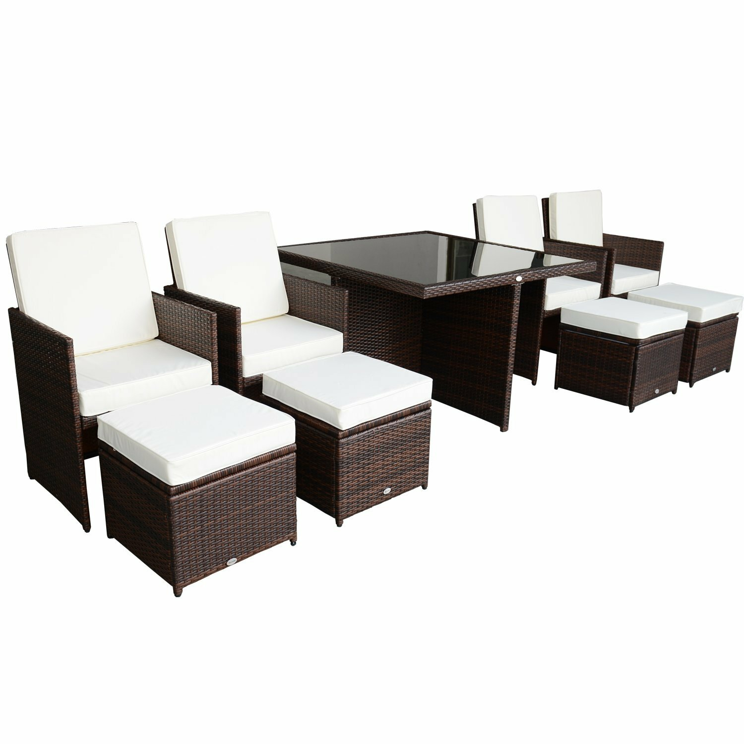 piece outdoor pe rattan wicker nesting patio table dining table set