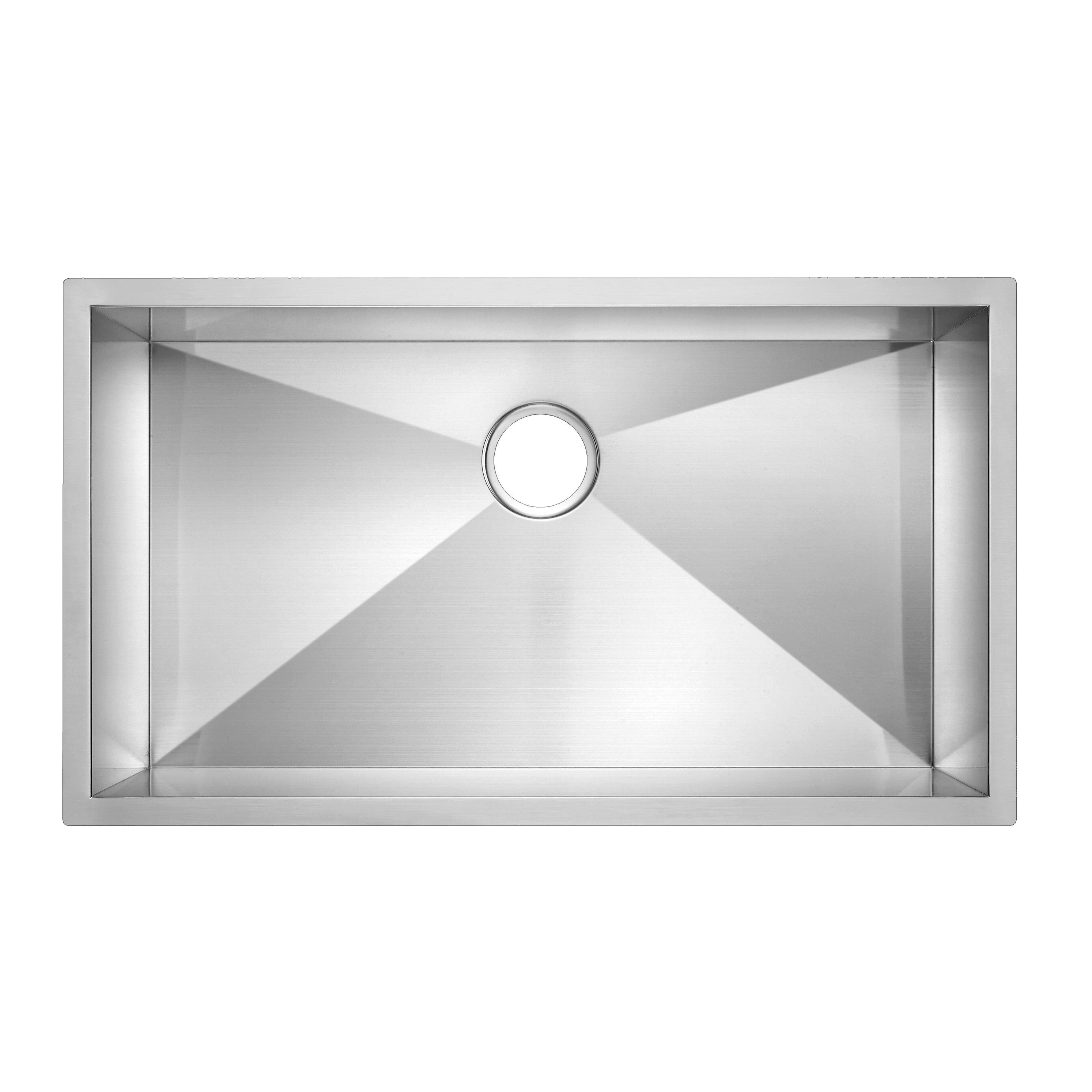 "Kitchen Sink 19 X 33: Water Creation SS-U-3319A 33"" X 19"" Zero Radius Single"