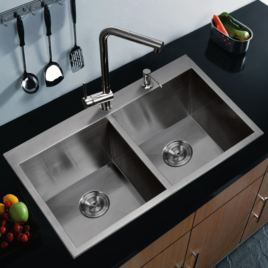Kitchen Sink Double : Home Improvement Kitchen Fixtures ... Water Creation Part #: SS-TD ...