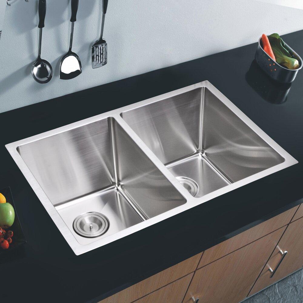 Kitchen Double Sink : Kitchen Sinks Water Creation Part #: SSS-U-3118A SKU: YWC1376
