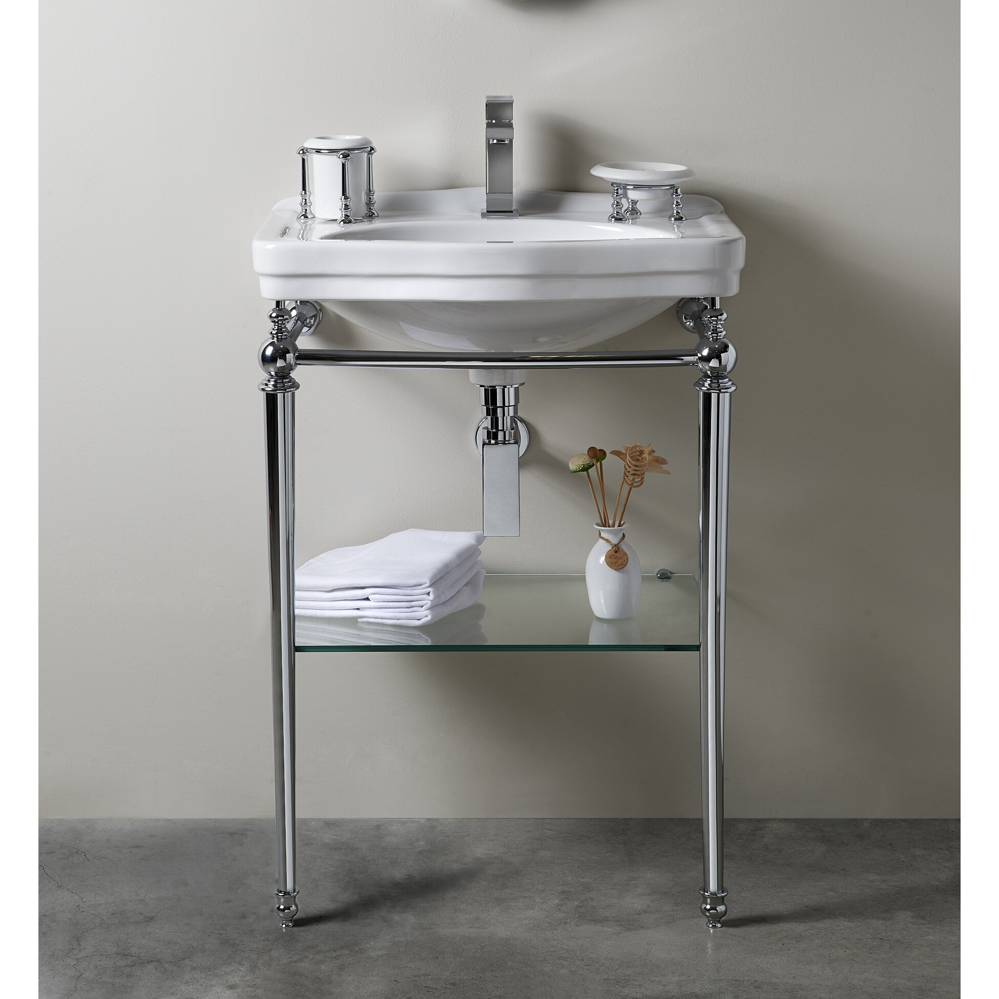 florian londra console table bathroom sink with towel bar and shelf by