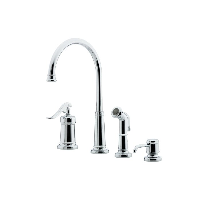 deck mounted bar faucet with side spray and soap dispenser by pfister