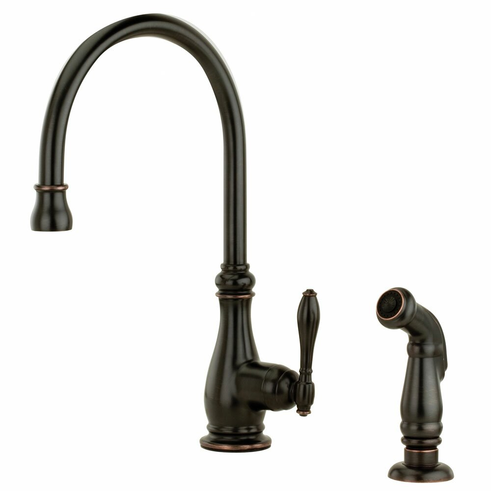 single handle deck mounted kitchen faucet with side spray by pfister