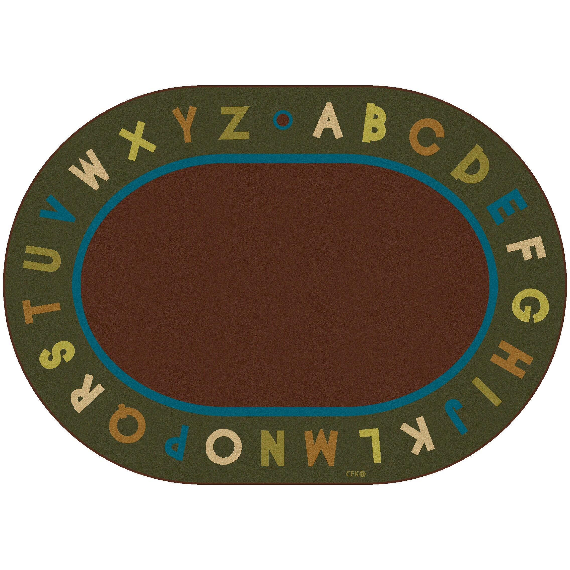 Circletime Brown / Green Alphabet Nature Area Rug : Wayfair Supply