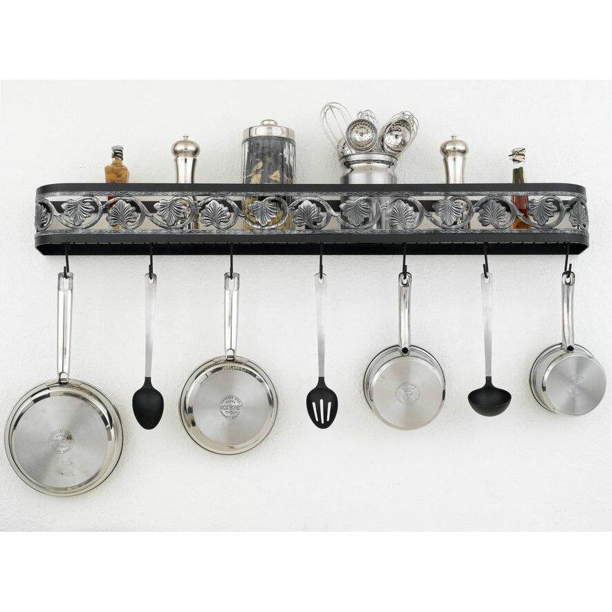 hi lite leaf wall mounted pot rack reviews wayfair. Black Bedroom Furniture Sets. Home Design Ideas