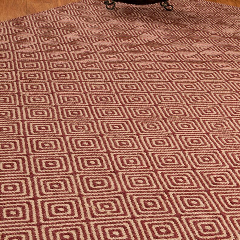 Jute retro cream red area rug wayfair for Cream and red rugs