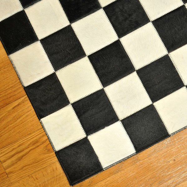 Checked Area Rugs: Cow Hide Patchwork Checkered Bergama Rug