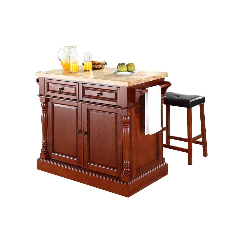 crosley butcher block top kitchen island crosley oxford kitchen island set with butcher block top reviews wayfair 7958
