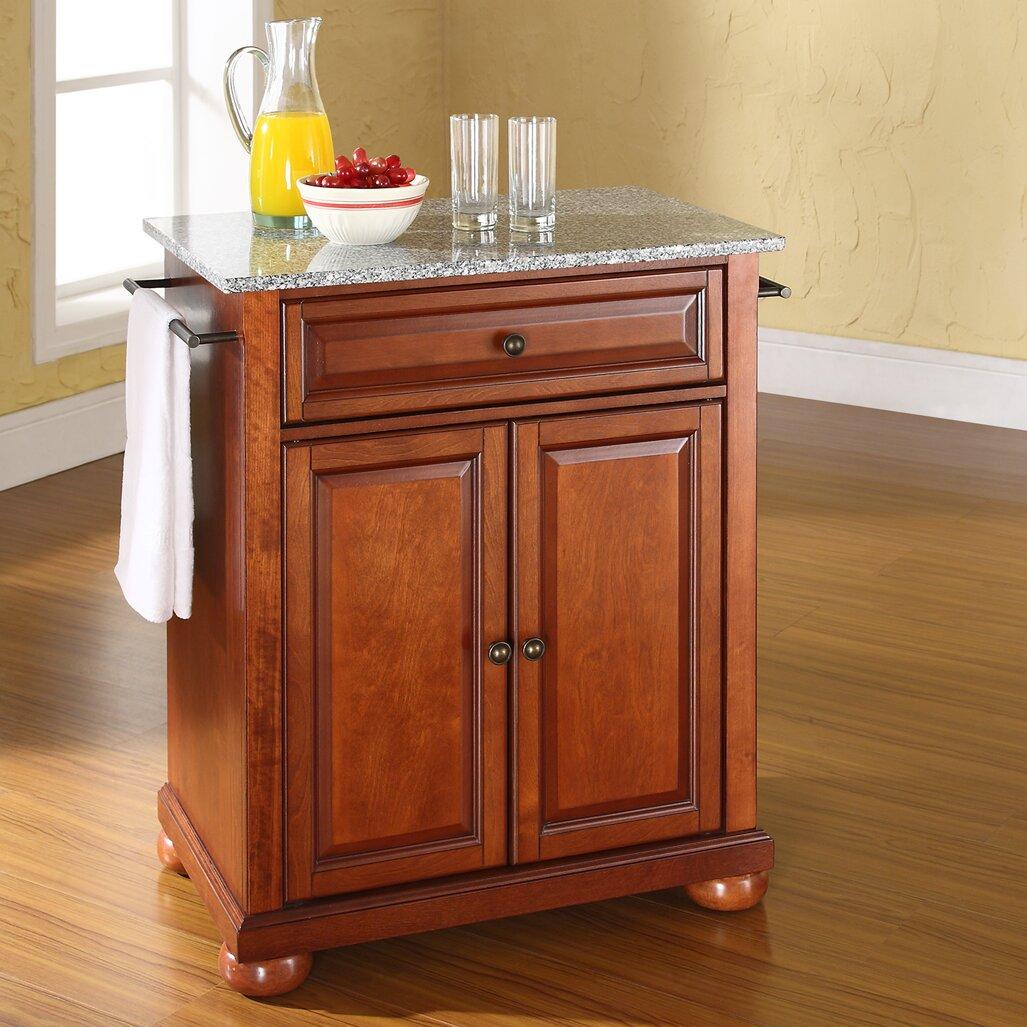 crosley alexandria kitchen cart with granite top reviews wayfair. Black Bedroom Furniture Sets. Home Design Ideas