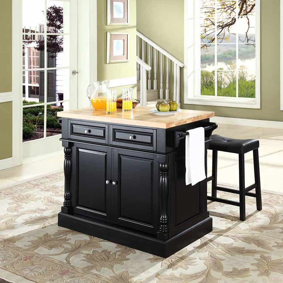 crosley butcher block top kitchen island crosley oxford kitchen island set with butcher block top reviews wayfair 8572