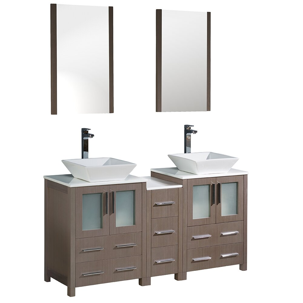 Torino 60 double modern bathroom vanity set with mirror - Modern double sink bathroom vanities ...